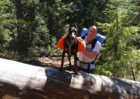 Cooper and I on one of our backpacking trips.