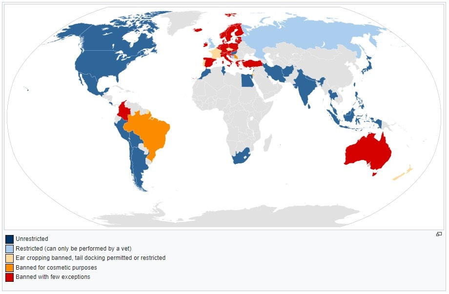 Map of various countries where ear cropping and tail docking are legal.